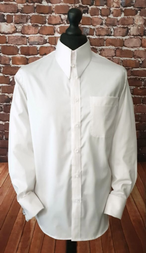 """Linden"" 100% Cotton White Spearpoint Collar Shirt"